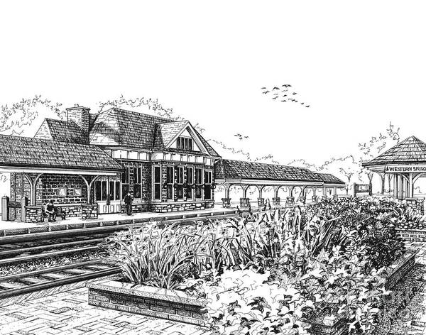 Drawing - Western Springs Train Station by Mary Palmer
