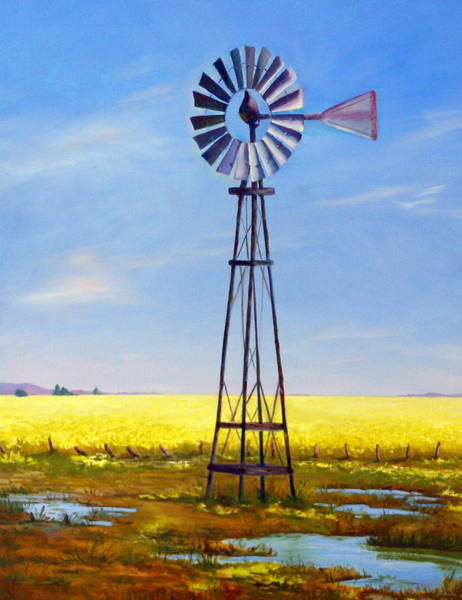 Mustard Field Painting - Western Windmill by Dorothy Nalls