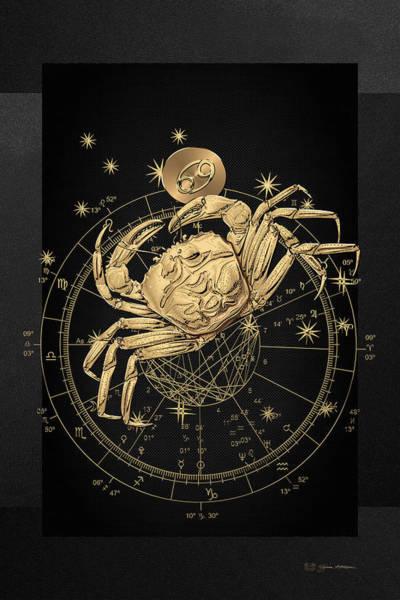 Digital Art - Western Zodiac - Golden Cancer - The Crab On Black Canvas by Serge Averbukh