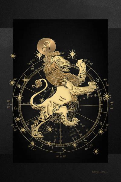 Digital Art - Western Zodiac - Golden Leo - The Lion On Black Canvas by Serge Averbukh
