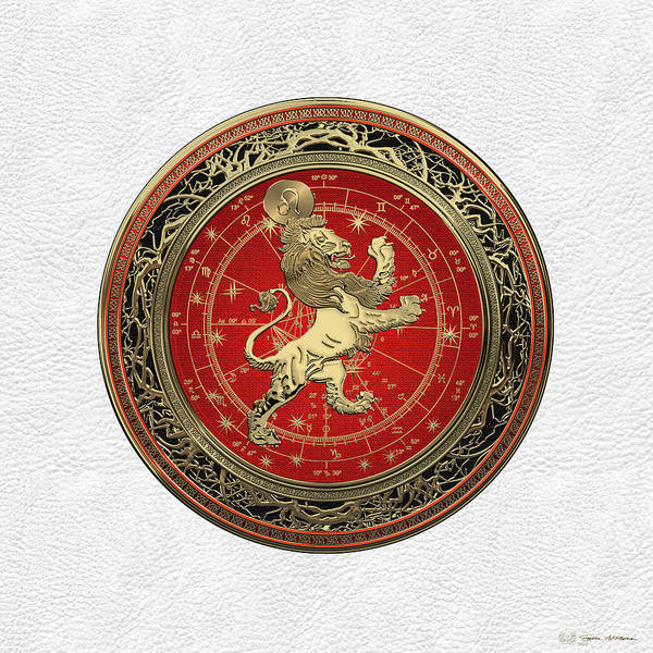Destiny Digital Art - Western Zodiac - Golden Leo - The Lion On White Leather by Serge Averbukh