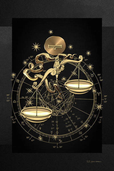 Destiny Digital Art - Western Zodiac - Golden Libra -the Scales On Black Canvas by Serge Averbukh