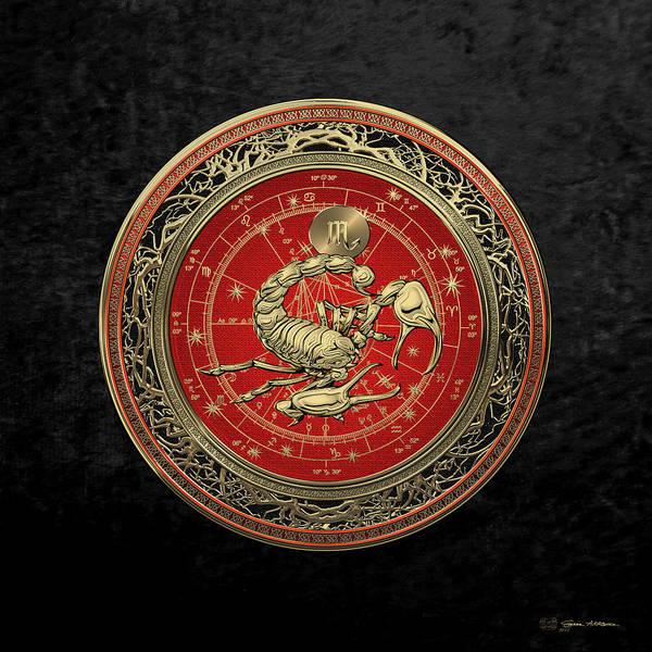 Digital Art - Western Zodiac - Golden Scorpio - The Scorpion On Black Velvet by Serge Averbukh