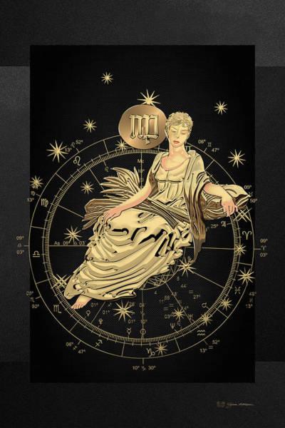 Digital Art - Western Zodiac - Golden Virgo - The Maiden On Black Canvas by Serge Averbukh