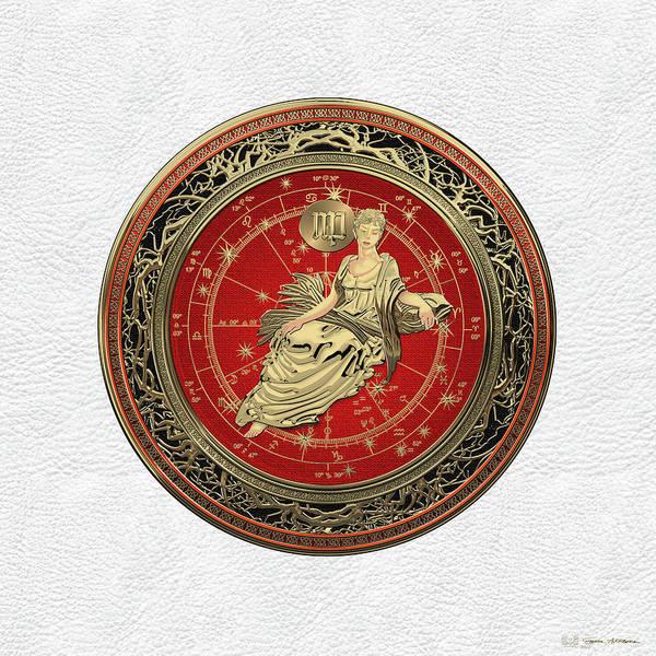 Digital Art - Western Zodiac - Golden Virgo - The Maiden On White Leather by Serge Averbukh