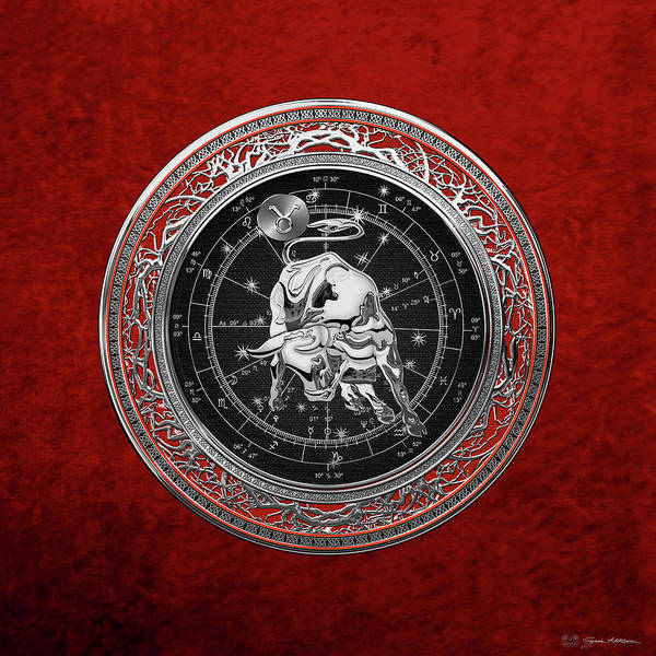 Digital Art - Western Zodiac - Silver Taurus - The Bull On Red Velvet by Serge Averbukh