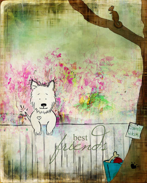 Digital Art - Westie And Squirrel Best Friends by Christina VanGinkel