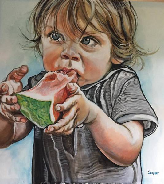 Painting - Westy And The Watermelon by Stephanie Come-Ryker
