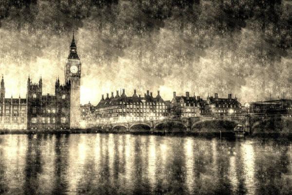 Wall Art - Photograph - Westminster Bridge And Big Ben Vintage by David Pyatt