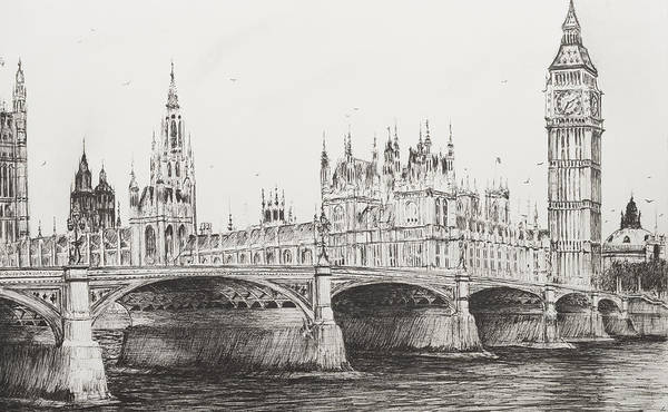 Span Wall Art - Drawing - Westminster Bridge by Vincent Alexander Booth