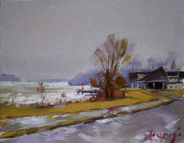 Wet Wall Art - Painting - Wet And Icy At Gratwick Waterfront Park by Ylli Haruni