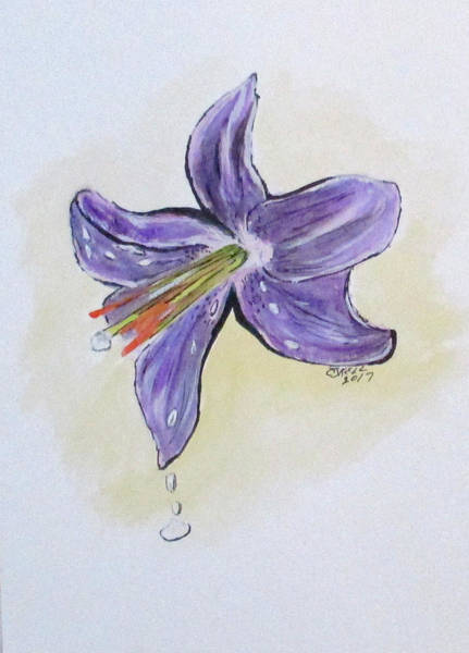 Painting - Wet Flower by Clyde J Kell
