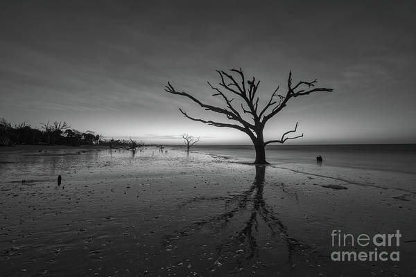 Wall Art - Photograph - Wet Reflections At Botany Bay Beach Bw by Michael Ver Sprill