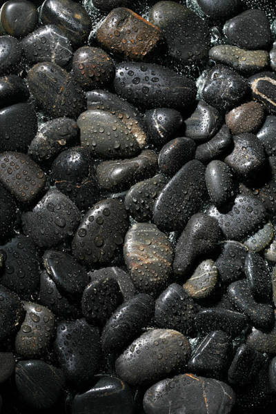 Dark Background Photograph - Wet River Rocks  by Michael Ledray