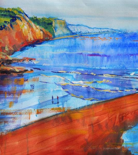 Painting - Wet Sand At Sidmouth Devon Seascape Painting by Mike Jory