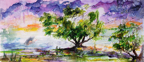 Painting - Wetland In The Mist Landscape With Trees And Birds by Ginette Callaway