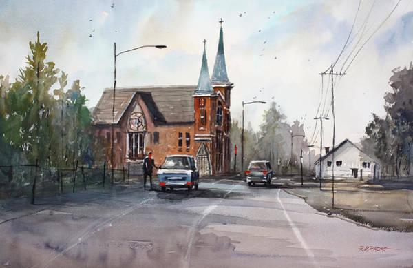 Wall Art - Painting - Weyauwega Church by Ryan Radke