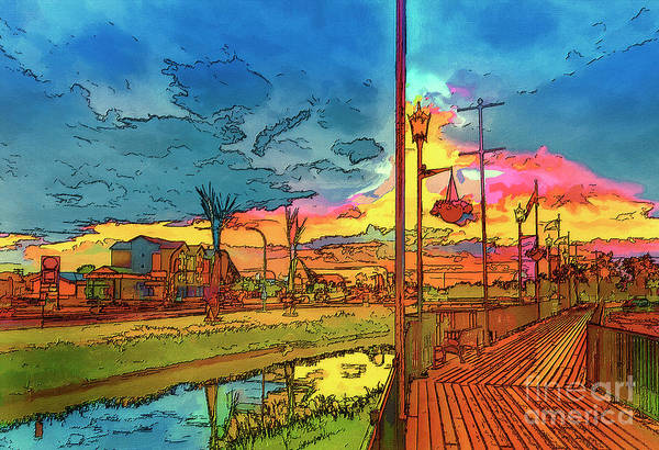 Evening Wall Art - Mixed Media - Weyburn  In The Colors Of The Rainbow. by Viktor Birkus