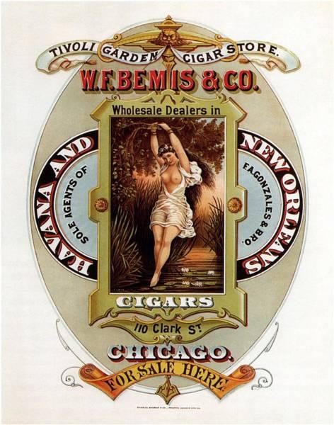 Art Nouveau Mixed Media - W.f.bemis And Co - Tivoli Garden Cigar Store - Vintage Advertising Poster by Studio Grafiikka