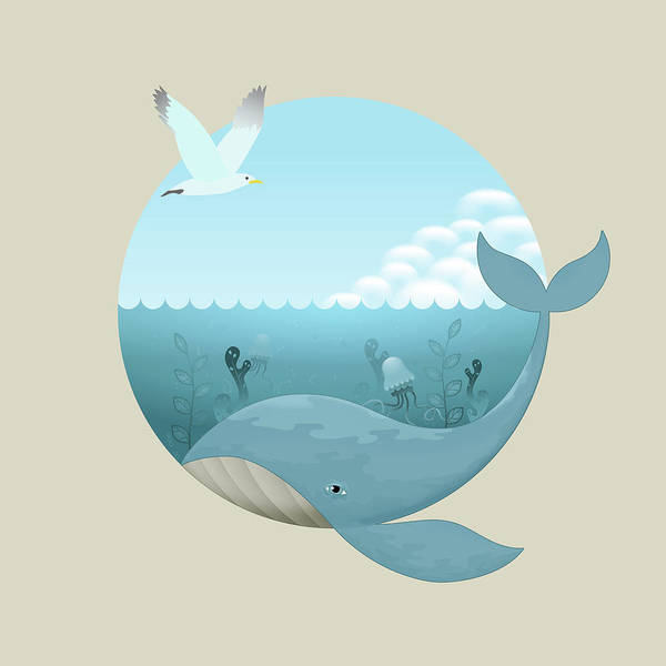 Wall Art - Digital Art - Whale And Seagull by David Perez