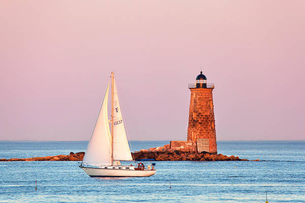 Wall Art - Photograph - Whaleback Lighthouse And Sailboat by Eric Gendron