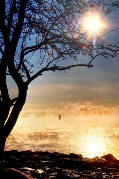 Photograph - Whaleback Lighthouse Sunrise With Sea Smoke. - Maine Lighthouse Art by Joann Vitali