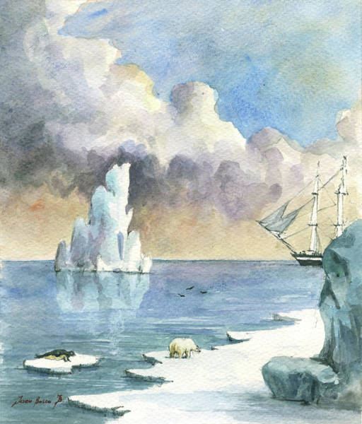 Wall Art - Painting - Whaler On Ice by Juan Bosco