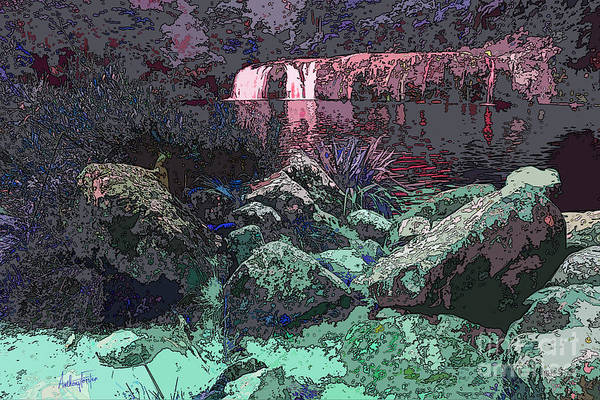 Wall Art - Digital Art - Wharepuke Falls By Moonlight by Anthony Forster