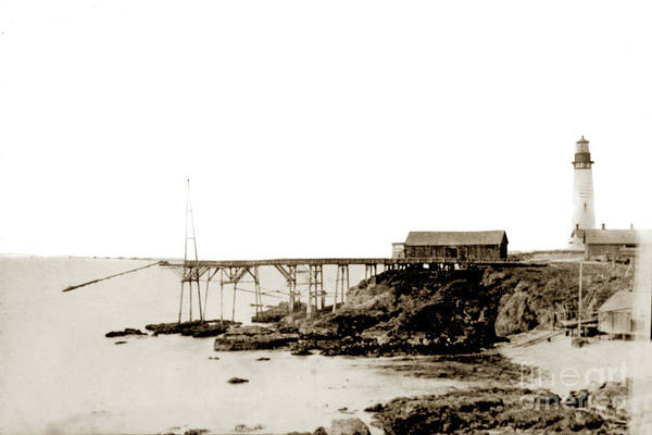 Photograph - Wharf And Grain Chute Built And Lighthouse Pigeon Landing 1872 by California Views Archives Mr Pat Hathaway Archives