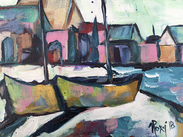 Landscape Painting - Wharf Boats by Roxy Rich
