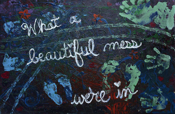 Little Blue Truck Painting - What A Beautiful Mess We're In by April Kasper