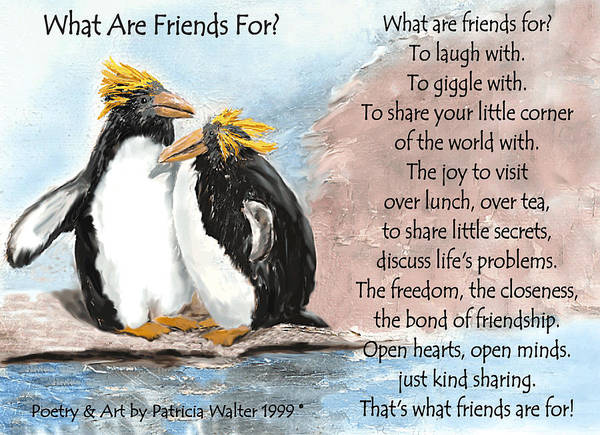 Mixed Media - What Are Friends For? by Patricia Walter