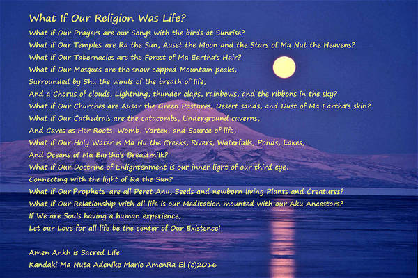What If Our Religion Was Life Art Print