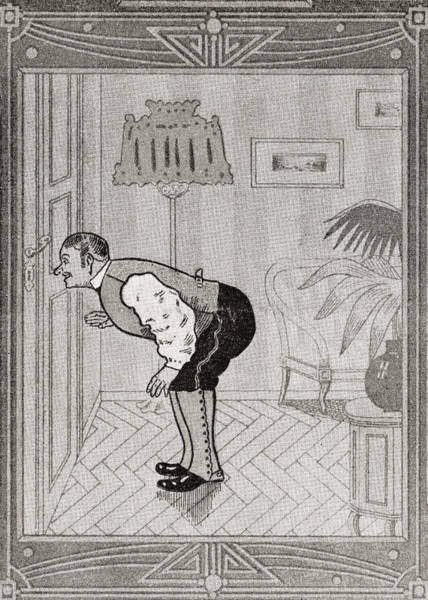 Wall Art - Drawing - What The Butler Saw. From Illustrierte by Vintage Design Pics