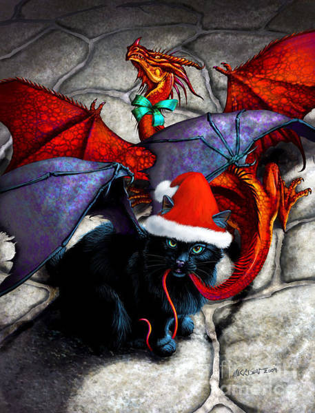 Dragon Digital Art - What The Catabat Dragged In For Christmas  Card by Stanley Morrison
