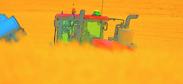 Photograph - Wheat Cart And Tractor by Jerry Sodorff