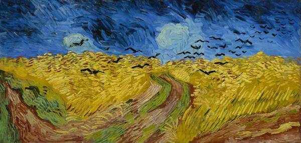 Painting - Wheat Field With Crows At Wheat Fields Van Gogh Series, By Vincent Van Gogh by Artistic Panda