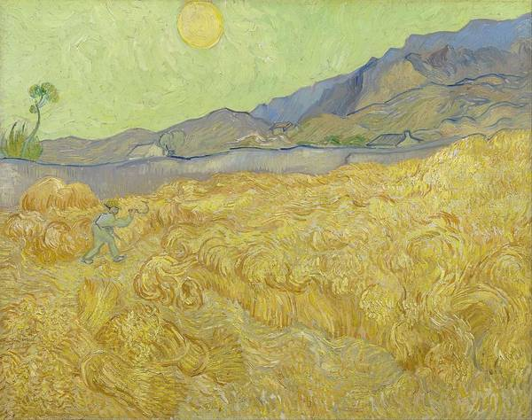 Painting - Wheat Field With Reaper At Wheat Fields Van Gogh Series, By Vincent Van Gogh by Artistic Panda