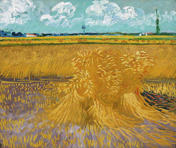Barley Painting - Wheat Field With Sheaves   by Vincent Van Gogh