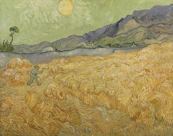 Van Gogh Wall Art - Painting - Wheatfield With Reaper by Vincent Van Gogh