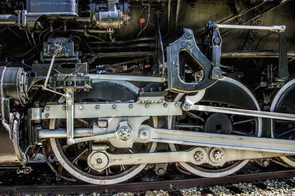 Photograph - Wheel Detail Of The Pere Marquette Railroad Steam Locomotive Engine by Randall Nyhof