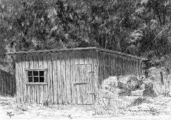 Drawing - Wheel Farm Shed by David King