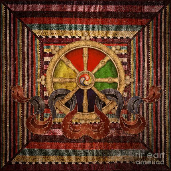 Mixed Media - Wheel Of The Dharma by Lita Kelley
