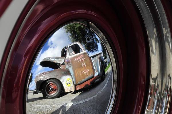 Antic Photograph - Wheel Reflections by David Lee Thompson