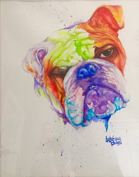 English Bulldog Painting - Wheezer by Leslie Encinosa Bridges