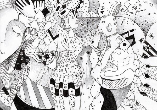 Organic Abstraction Drawing - When Anything Is Possible Aka Imagine 1 by Helena Tiainen