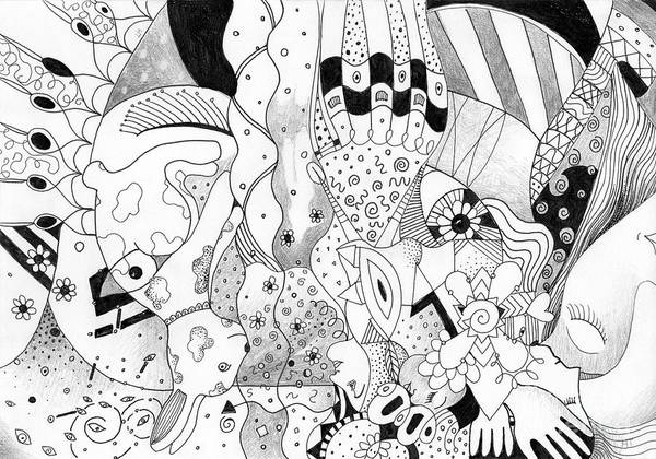 Organic Abstraction Drawing - When Anything Is Possible Aka Imagine 2 by Helena Tiainen