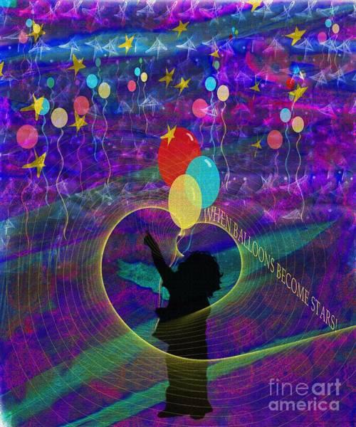 Balloon Festival Digital Art - When Balloons Become Stars by Sydne Archambault