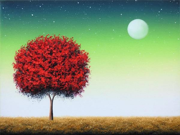 Full Moon Night Painting - When Follows The Night by Rachel Bingaman