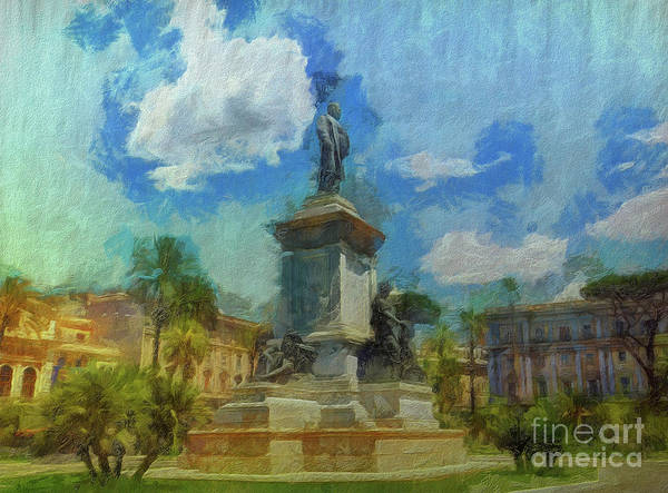 Digital Art - When In Rome 18 - Another Day, Another Piazza by Leigh Kemp